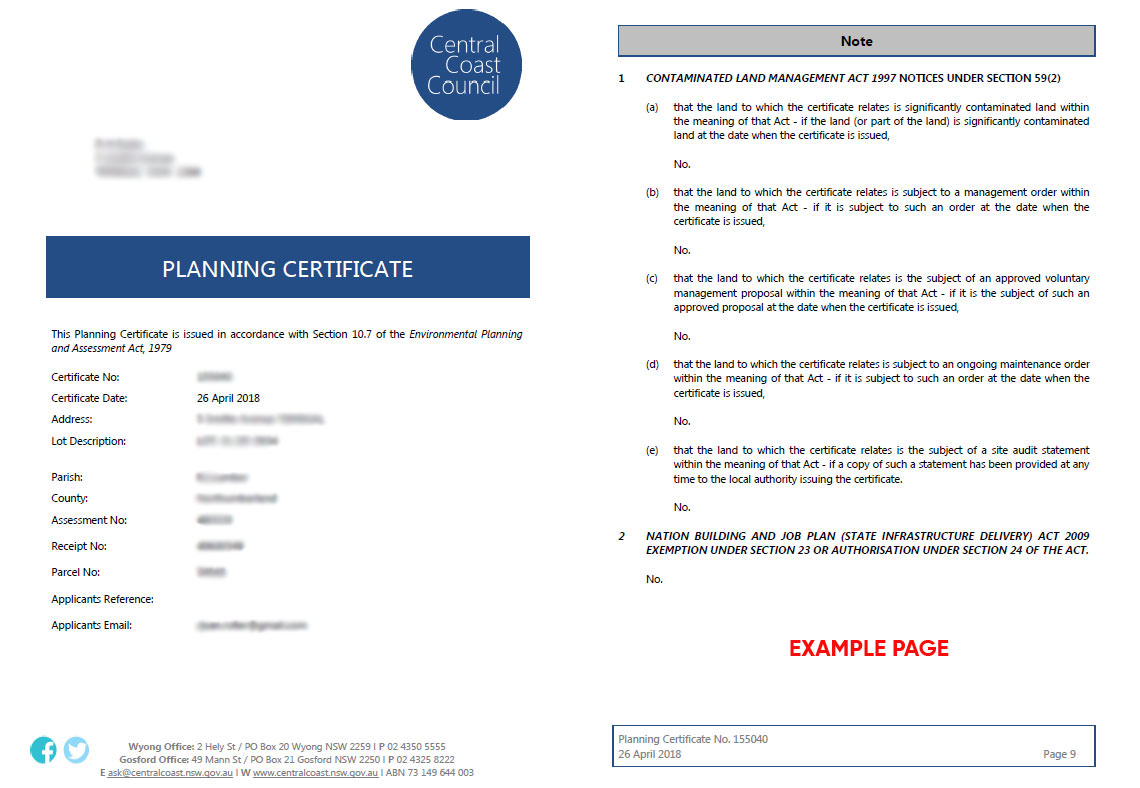 section 10.7 certificate