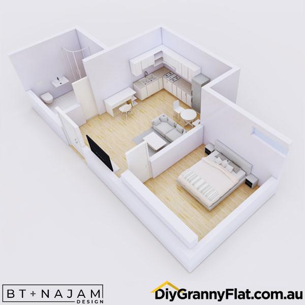 1 bedroom granny flat design
