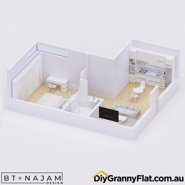 L shaped granny flat