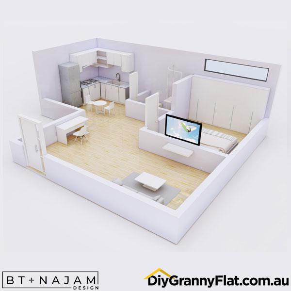 open plan one bedroom granny flat