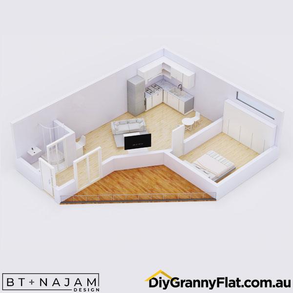 L shaped 1 bedroom granny flat