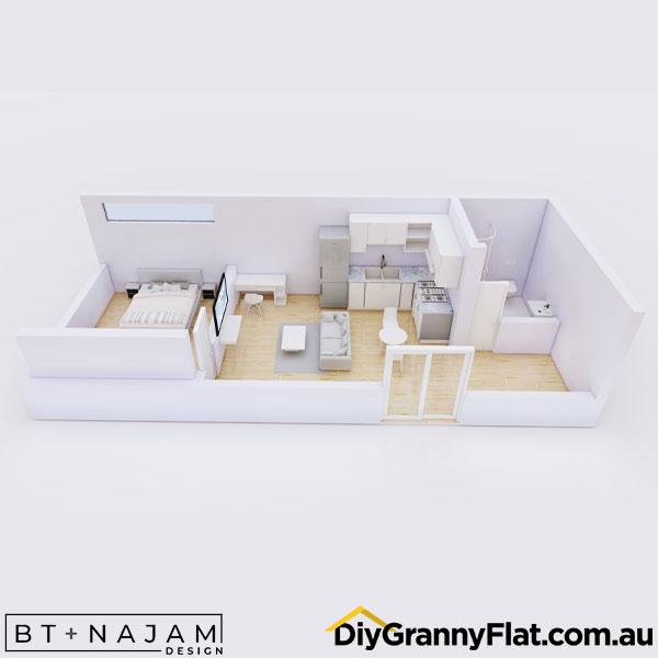 narrow 1 bed granny flat design