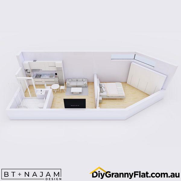 unusual shaped 1 bed granny flat