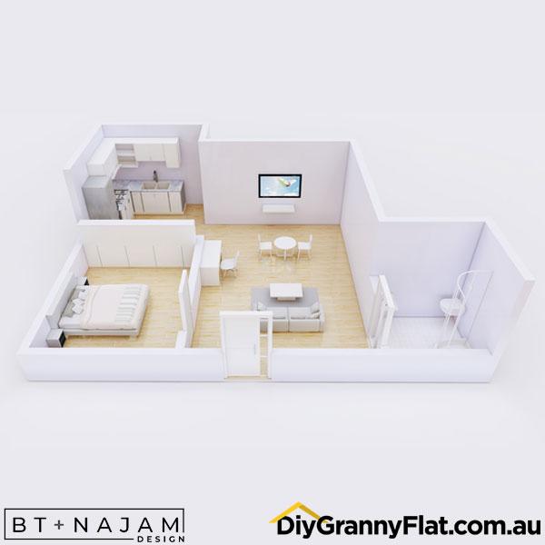 staggered granny flat design