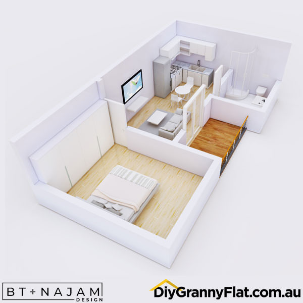 1 bedroom granny flat with porch