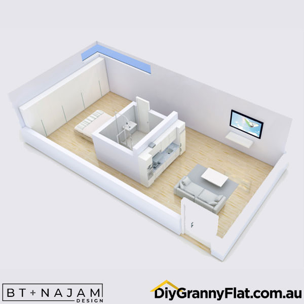 studio granny flat design floorplan