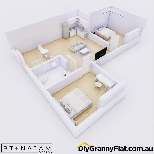 L Shaped granny flat design