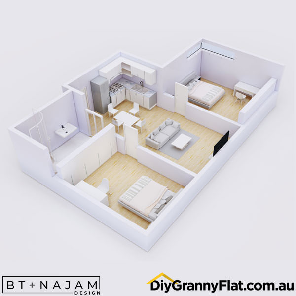 2 bedroom granny flat with kitchen and bathroom together