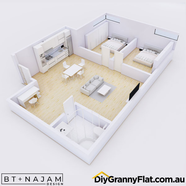 large 2 bedroom granny flat design