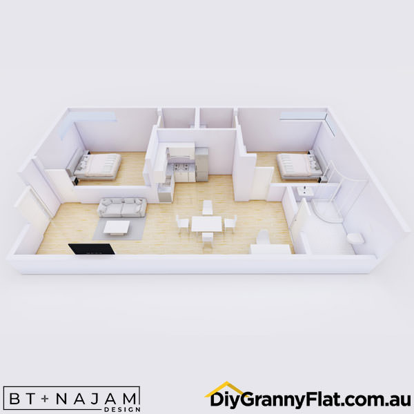 2 bedroom granny flat with walk in wardrobe
