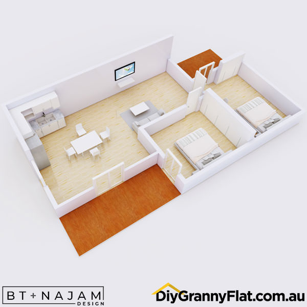 2 bedroom granny flat with 2 decks