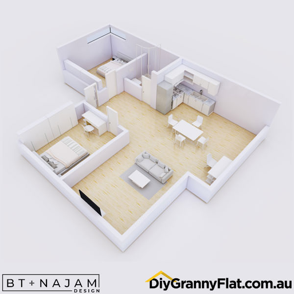 2 bedroom granny flat open plan living