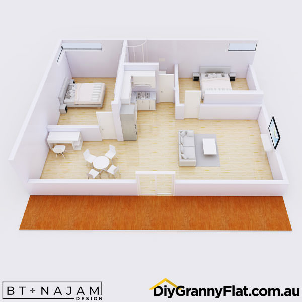 2 bedroom granny flat design with ensuite