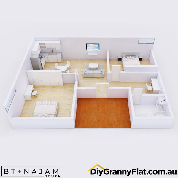 2 bedroom granny flat design with privacy