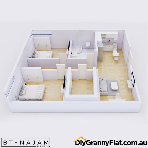2 bedroom granny flat with storage