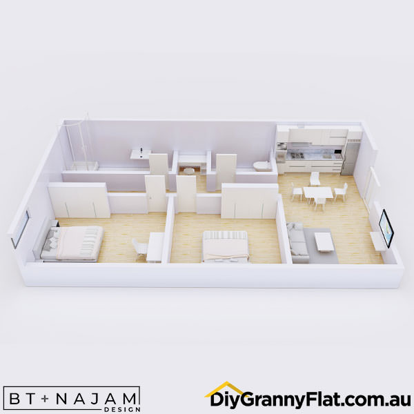 2 bedroom granny flat with hallway