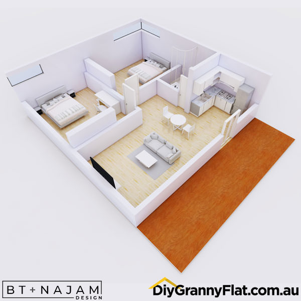 2 bedroom granny flat with deck