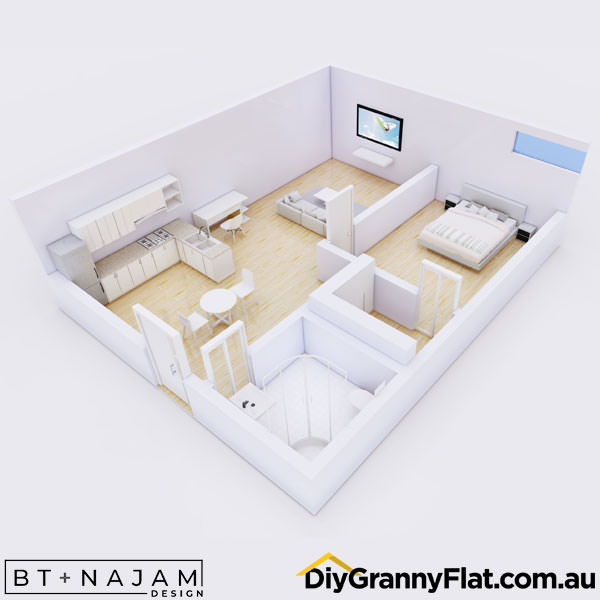 40sqm granny flat design layout