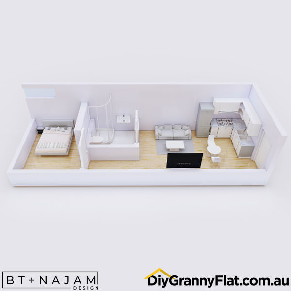 narrow one bedroom granny flat design