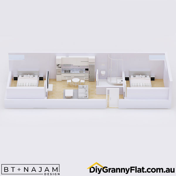 narrow two bedroom granny flat layout