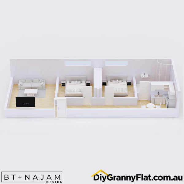 narrow granny flat 2 bedrooms