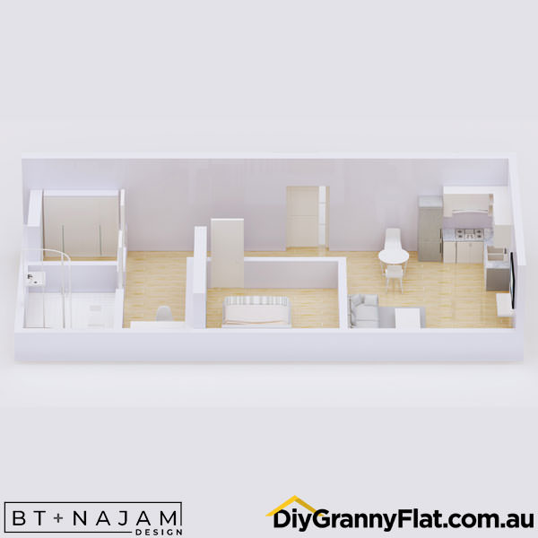 one bedroom narrow granny flat