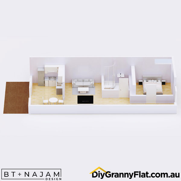 narrow granny flat with deck