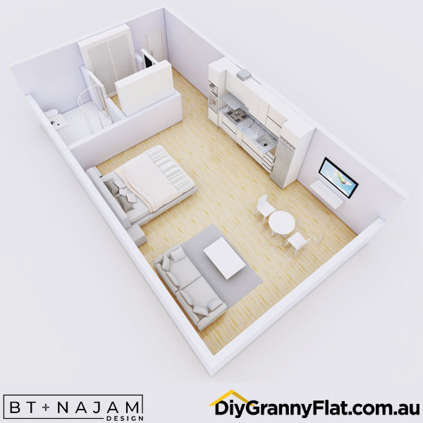 narrow granny flat design