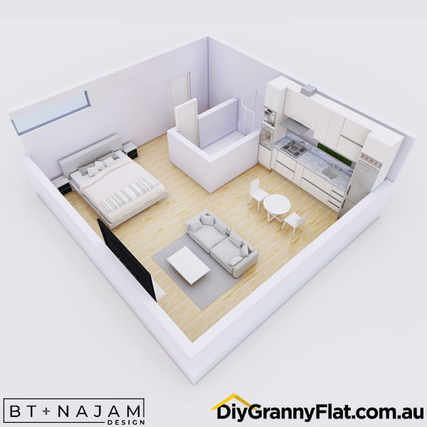 square granny flat design