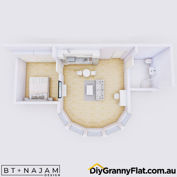 1 bedroom granny flat floorplan